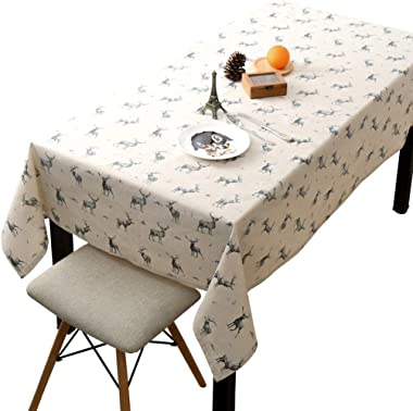 35.4X55 Inch Nordic Ins Nordic Elk Rectangle Table Cloth, Washable Cotton Linen Tassel Design Tablecloth, Simple Rectangle Table Cover for Kitchen Dining Room Tabletop Decoration (Nordic Elk)