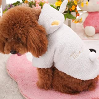 Lotus.flower Cute Pet Winter Clothes, Plush Puppy Dog Cat Padded Thickening Sheep Costumes Soft Warm Winter Coat (M)