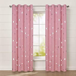 Anjee Cute Pink Blackout Curtains for Girls' Bedroom, Silver Star Print Thermal Insulated Window Curtains, 52 x 84 Inches, 2 Panels, Baby Pink
