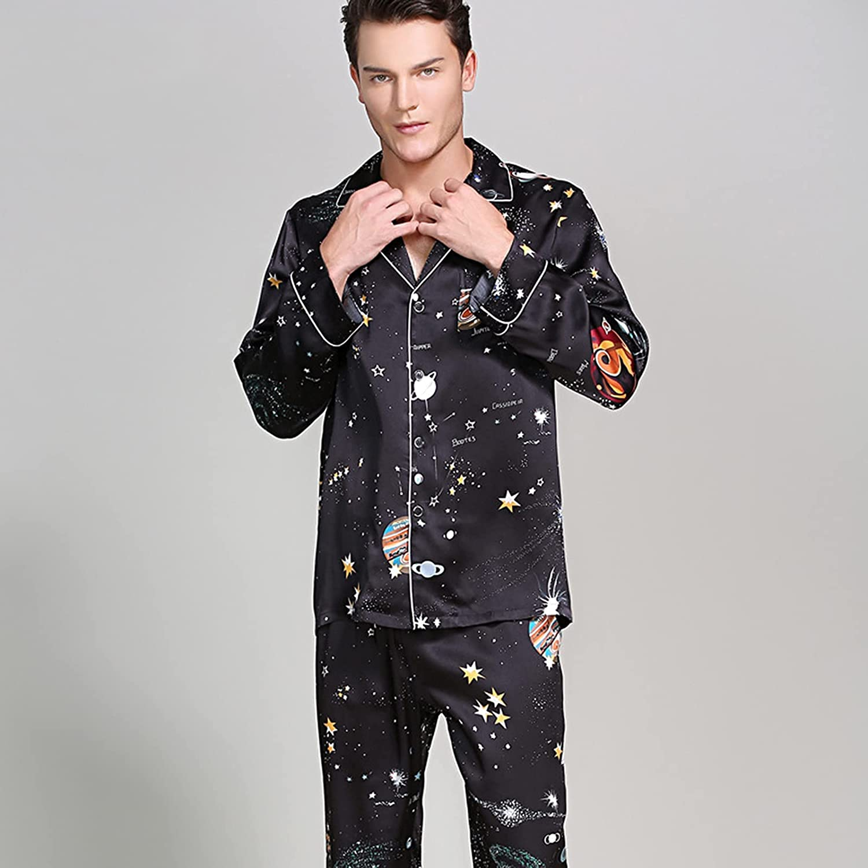 Pajama Set Silk Pajama for Men Sleep Tops Trousers Two Pieces Long Sleeved Sleepwear Satin Set Plus Size Pyjamas