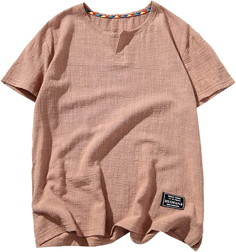 Baggy Linen Shirts for Men,Casual O-Neck Short Sleeve Basic Tee Summer Solid Color Beach Yoga Quick Dry Top Blouse by Leegor