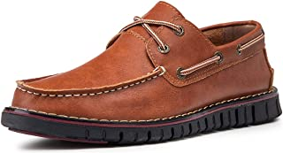MAIZUN Mens Slip on Loafer Genuine Leather Casual Boat Shoe Non-Slip Comfort Driving Moccasin Breathable Fashion Business Shoe