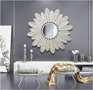 80cm Espejo de pared vintage Forma de hoja Arte redondo de hierro Forma creativa 3D estéreo, Espejos de pared Forja a mano Shabby Chic, Decoración decorativa para el hogar