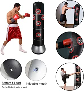 Dioche Inflatable Punching Bag Fitness Punching Bags for Kid Adult Kick Training Tumbler Bop Bag with Air Inflator Pedal Pump