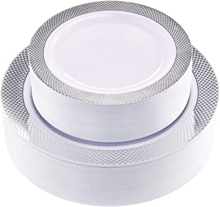 60PCS Heavyweight White with Silver Rim Wedding Party Plastic Plates,Disposable Plastic Plates,30-10.25inch Dinner Plates and 30-7.5inch Salad Plates -WDF (White/Silver Diamond)