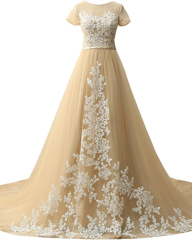 HSDJ Appliqued Ball GQUn Quinceanera Dresses Long Prom Dress Short Sleeves