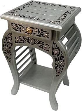 Wai Extreme Silver wooden bedside table / sofa end table / side end table / night stand with drawer and shelf tables standard