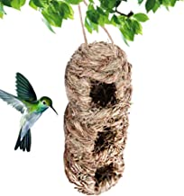 Hanging Grass Birdhouses -Bird Houses for Outside,Bird Roosting Pocket,Songbirds House,Grass Bird Hut, Outdoor Shelter for Birds,Hanging Bluebird Houses with 3 Holes