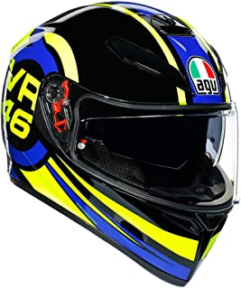 AGV K3 SV Ride 46 Adult Street Motorcycle Helmet - Yellow/Black/Blue/Medium/Large