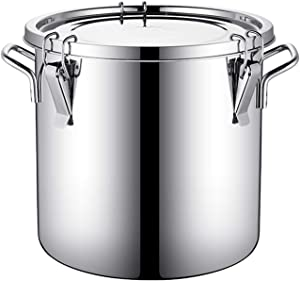 lxm Airtight Canisters Bucket Lid Milk Stainless Steel Can with Lids Tote Food Storage Bins Container(Size : 12L)