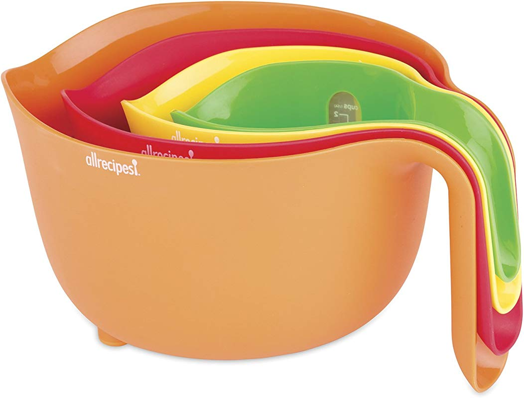 Allrecipes 4Piece Nested Prep Essentials Mixing Bowls Multicolor
