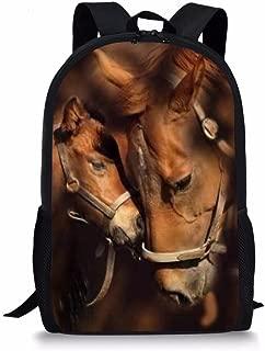 HUGS IDEA Cool Children Schoolbag Boys Bookbag Horse Printed Backpack for School Travel Sport