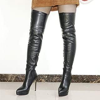FidgetGear Women Boots Point Toe Platform Stiletto Thigh High Boots Over Knee Party Pumps Black US7.5
