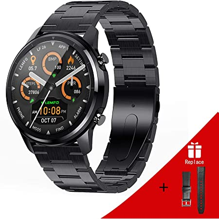 LEMFO Smart Watch for Men Full Touch Screen Steel Stainless Smart Watch Heart Rate Monitor Blood Pressure Fitness Tracker, Waterproof Men Sport Smart Watches with Stopwatch Step Counter Sleep Tracker