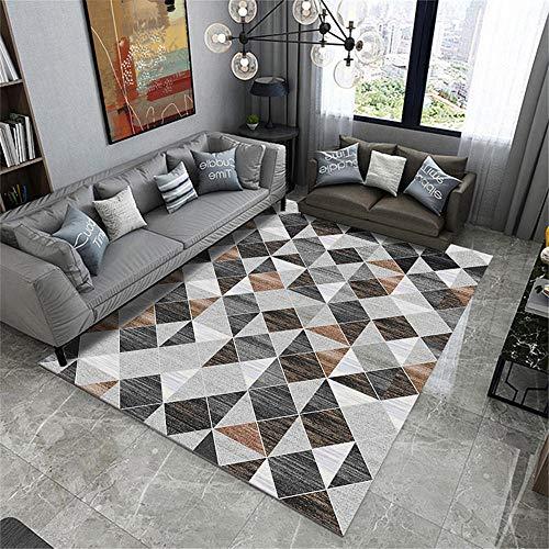 La alfombras Resistente al desgaste Diseño moderno Comedor Alfombras Alfombra antideslizante de la sala de estar con patrón de triángulo geométrico marrón gris negro creativo La Alfombra 200*300cm