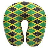 Grandes Regalos en Forma de U Almohada de Cuello de Espuma de Memoria Cuello Almohada de Cabeza Soporte de Descanso Al Aire Libre Oficina de Coche Almohada de Viaje-Jamaica Bandera de Jamaica Caribe