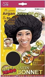 Qfitt Organic Argan + Shea Butter Olive Oil Super Jumbo Satin Bonnet #899 Black