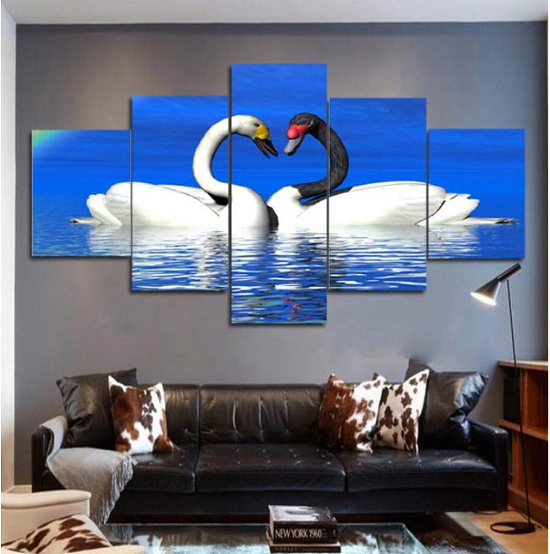 FEIF Cartel De La Obra Hd Impresiones Decoración Para El Hogar 5 Unids Animal Wall Art Cisne Modular Kids Room Cuadros Cuadros Cuadro De La Lona Pintura