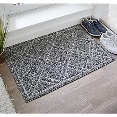 BrigHaus Large Indoor/Outdoor Doormat | 24 x 36 | Non Slip Heavy Duty Front Entrance Door Mat Rug, Outside Patio, Inside Entry Way, Catches Dirt Dust Snow & Mud - Black/White