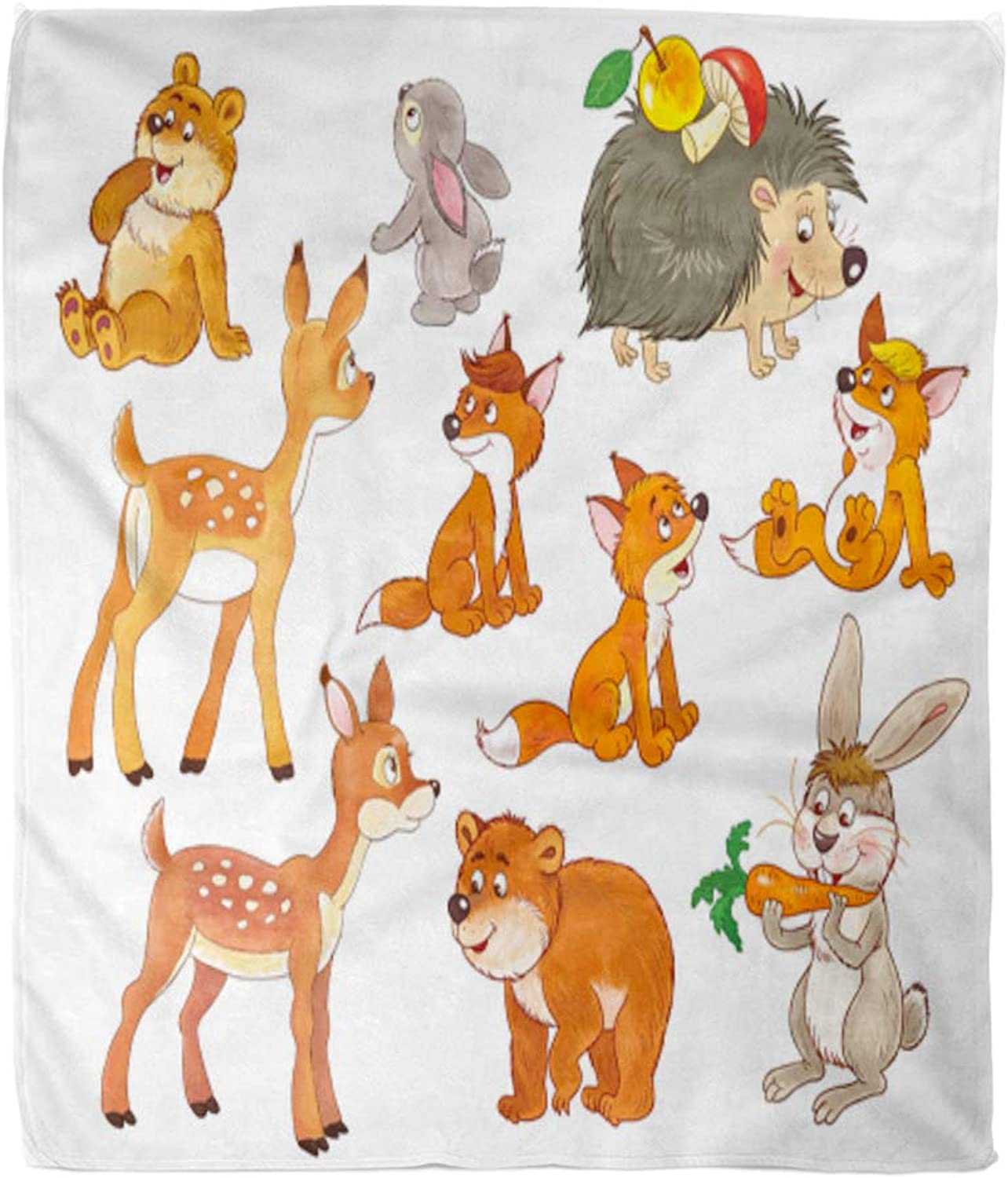 Emvency Throw Blanket Warm Cozy Print Flannel Cute Woodland Animals Small of Baby Bears Deer Hare Rabbit Foxes and Hedgehog Comfortable Soft for Bed Sofa and Couch 50x60 Inches