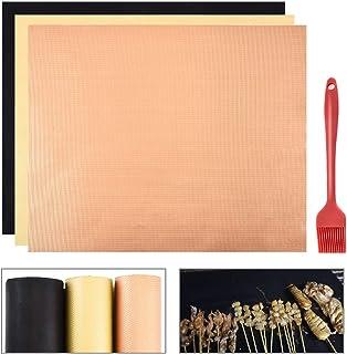 Keilafu Estera de Barbacoa, Papel BBQ, El juego de papel de barbacoa contiene 3 colores diferentes de papel de barbacoa y 1 cepillo de aceite de barbacoa, barbacoa reutilizable y tapete para hornear