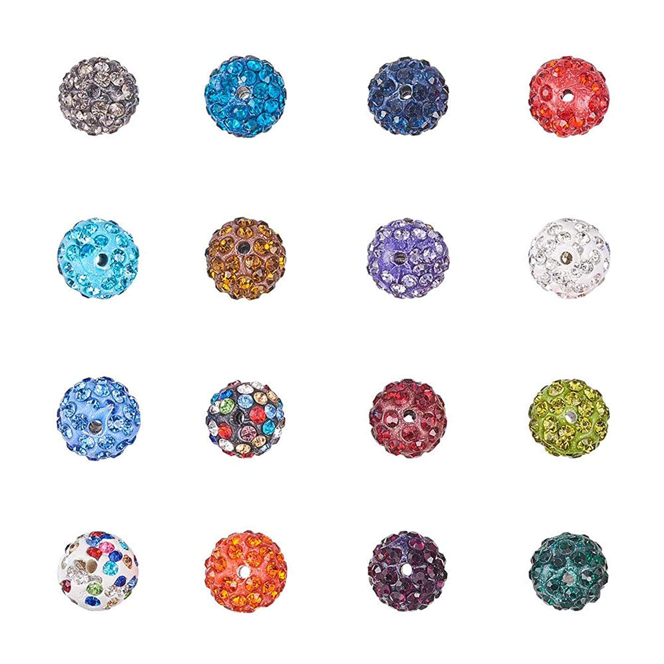 NBEADS 100 Pcs 12mm Random Mixed Color Polymer Clay Clear Gemstones Cubic Zirconia CZ Stones Pave Micro Setting Disco Ball Spacer Beads, Round Bracelet Connector Charms Beads for Jewelry Making