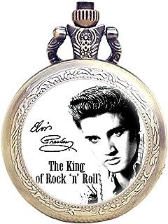 Taport® Elvis Presley Bronze antique gravée à quartz montre de poche + Gratuit batterie de rechange + Sac Cadeau Gratuit