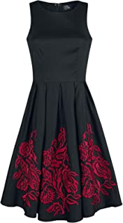 4255c6f15337 Dolly and Dotty Anna Adorable Embroidery Flower Medium-Length Dress Black- red