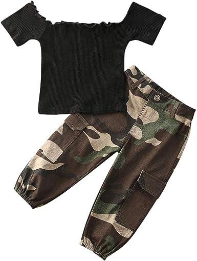 Carolilly Conjunto de 2 piezas para niña, camisa negra con hombros descubiertos de manga corta + pantalones de camuflaje chándal niña a la moda