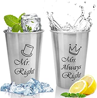Unbreakable Love,Mr Right and Mrs Always Right Couple Mug, Wedding Gifts for Couple,Bridal Shower Gifts,Engagement Gifts or Gifts for Anniversary,Birthday,Collions Glasses Cups,Beer Cups