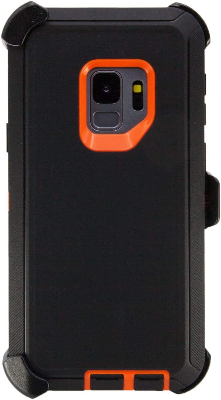 """WallSkiN Turtle Series Belt Clip Cases for Galaxy S9 (5.8""""), 3-Layer Full Body Life-Time Protective Cover & Holster & Kickstand & Shock, Drop, Dust Proof - Black/Orange"""