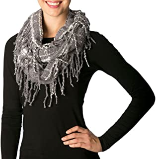 Apparelism Women's Winter Plaid Knitted Infinity Loop Scarf with PomPom Fringe