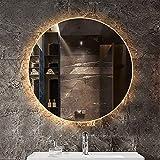 ZCZZ Espejo de baño Redondo con retroiluminación LED, Espejo...