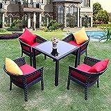 Todo Tipo de Clima Patio Conjuntos de Muebles Liquidación de 5 Piezas Silla del Patio Bistro Tabla Lawn Patio Patio Porche Muebles,4 Chair,Square Coffee Table