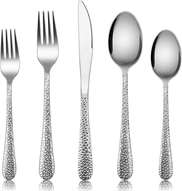 Silverware Set For 12 E Far 60 Piece Hammered Flatware Cutlery Set Stainless Steel Eating Utensils For Kitchen Hotel Restaurant Party Modern Design Mirror Finished Dishwasher Safe