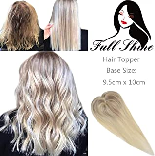 Full Shine Balayage Topper Ash Blonde Invisible Toppers 8 Inch Nordic Blonde Hair Topper Clip In Toupee Piece Human Hair 35g Silk Soft Base 9.5x10cm Short Cut Hidden Crown 1 Piece Hair