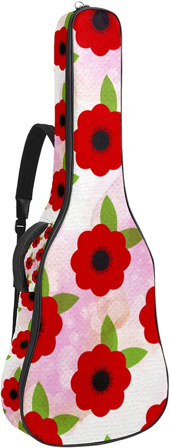 Red Poppy Challenge the lowest price of Japan ☆ Flowers Floral Pattern trend rank Ca Guitar Padded Gig Bag