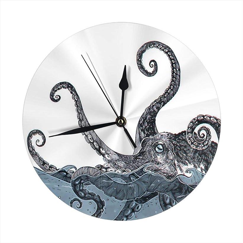 負荷見る湿った掛け時計 壁時計 ウォールクロック ホーム飾り 置き時計 静音時計 シンプル デザイン 学校 会社 オフィス 部屋装飾 グレイオクトパス 和風 プリント