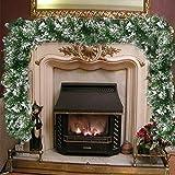 Surfmalleu Guirnalda de Navidad Nieve Artificial Premium de PVC para Escaleras Chimenea Ventana Decoración Navideña Corona con Nieve Interior Exterior