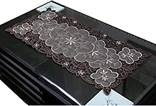 KUBER INDUSTRIES Table Runner In Soft Cloth Embroidry, Brown, MKUKI000092543