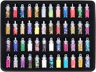 Beyonday 48 Bottles/Box DIY Nail Resin Glitter Sequins Crystal UV Epoxy Jewelry Making Mold Filler 3D Nail Art Tips Decoration(Multicolors)