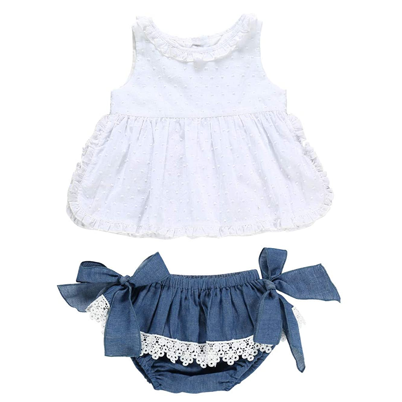 Baby Toddler Girls Summer Clothes for 1-5 Years Old Child Lace Ruffled Top Bow Demin Shorts Outfits Sets