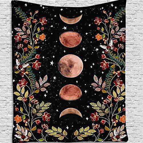 WERT Estrella Sol Luna y Tapiz de Flores Montaje en Pared Tapiz Antiguo montado en la Pared Tapiz psicodélico A1 150x200cm