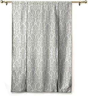 SONGDAYONE Printed Roman Curtain Damask Decor Collection Easy to Install Floral Swirl Damask Pattern Oriental Cultural Rococo Style Illustration in Soft Color,W48 x L72 Light Gray
