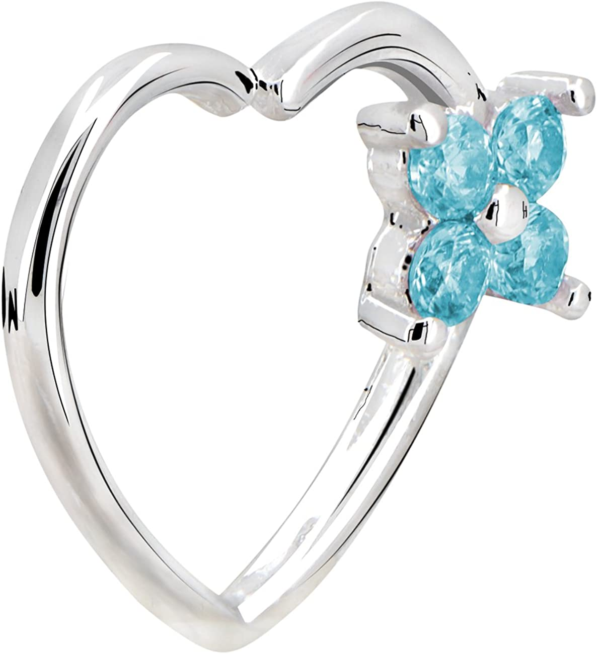 OUFER 16Gauge Flower CZ Heart Left Closure Daith Cartilage Tragus Earrings Body Piercing Jewelry (white teal)