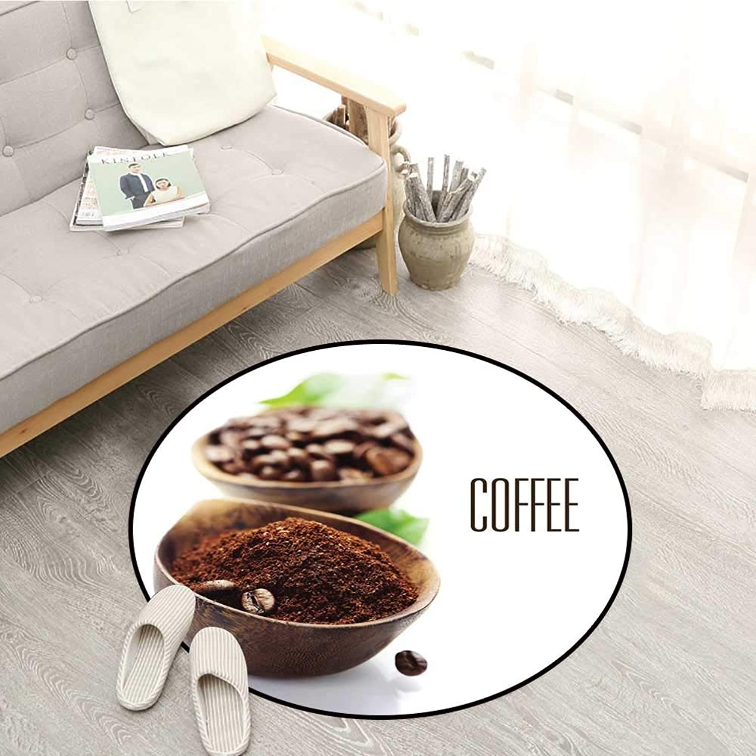 Coffee Skid-Resistant Rugs Ground Coffee in Wooden Bowl Grinding Process Leaf Ingredient Vintage Design Sofa Coffee Table Mat 4'7  Brown Green White