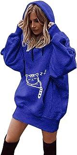 LZE アウトレット レディースパーカセーターソリッドカラー長袖ミッドシャツトップフード付きTシャツ かわいい猫プリントカジュアルファッションは暖かく保ちますワイルドトレンドストリートウェア