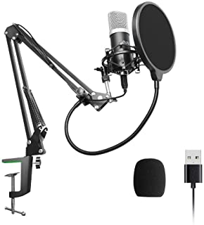 USB Podcast Condenser Microphone 192kHZ/24bit, UHURU Professional PC Streaming Cardioid Microphone Kit with Boom Arm, Shoc...