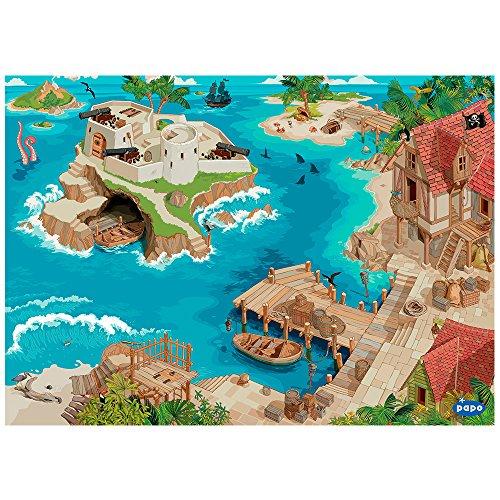 Papo- Tapis de Jeu Pirates ET Corsaires, 60505, Multicolore