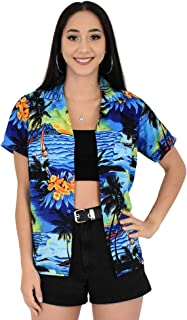 Island Style Clothing Ladies Sunset Hawaiian Shirts Hibiscus Tropical Party Cruise Clothing